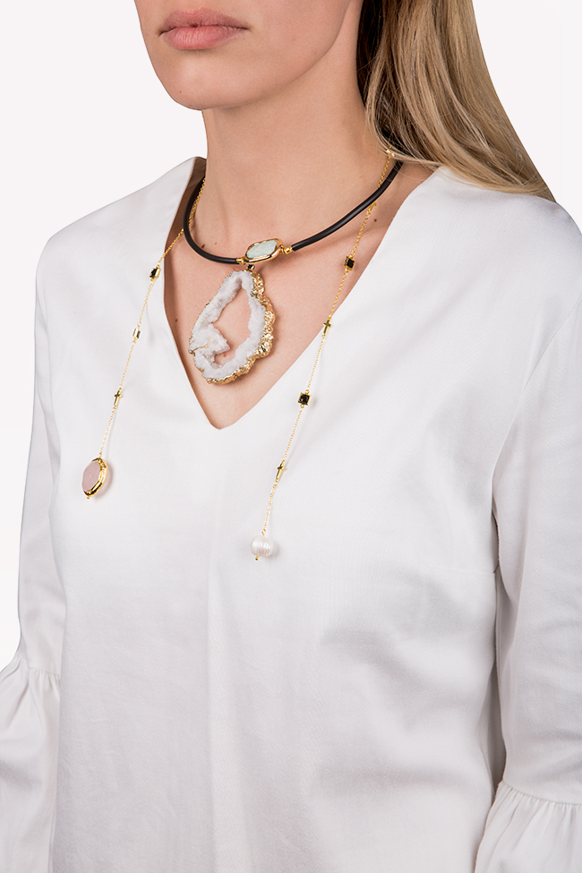 Gold-plated white quartz necklace Bon Bijou image 2