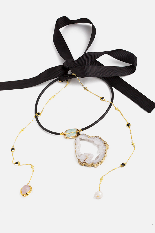 Gold-plated white quartz necklace Bon Bijou image 0