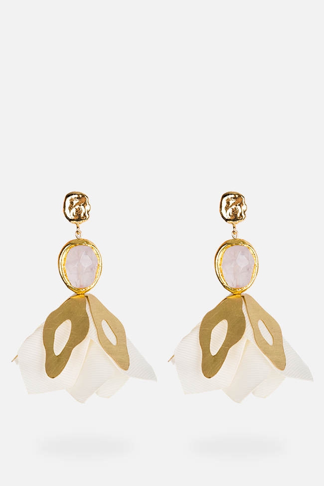 Pink quartz gold-plated flower Bon Bijou image 0