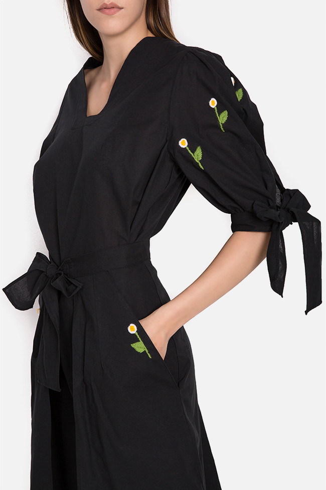 Embroidered cotton mini dress with detachable apron Nicoleta Obis image 3