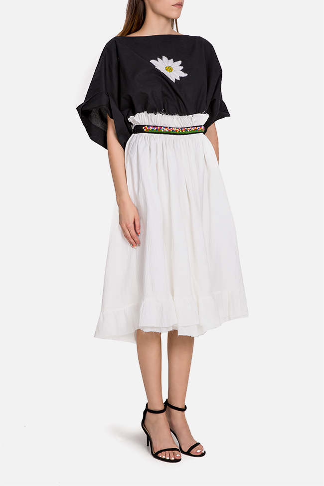 Emberoidered multifunctional cotton midi skirt Nicoleta Obis image 1