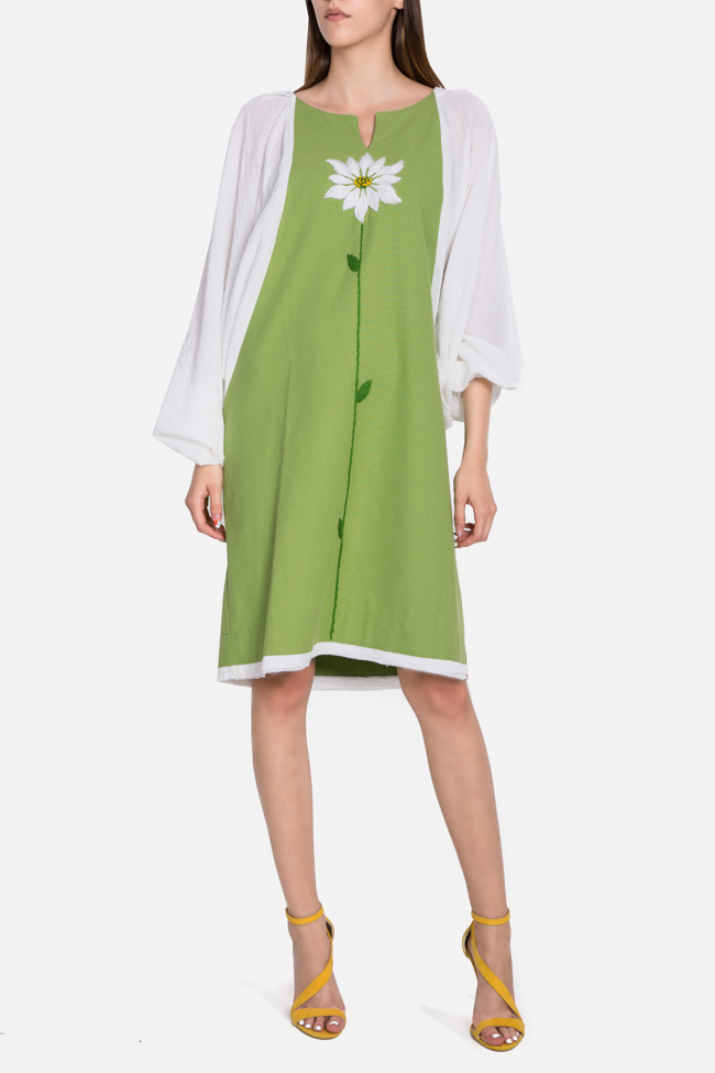 Embroidered cotton asymmetric dress Nicoleta Obis image 0