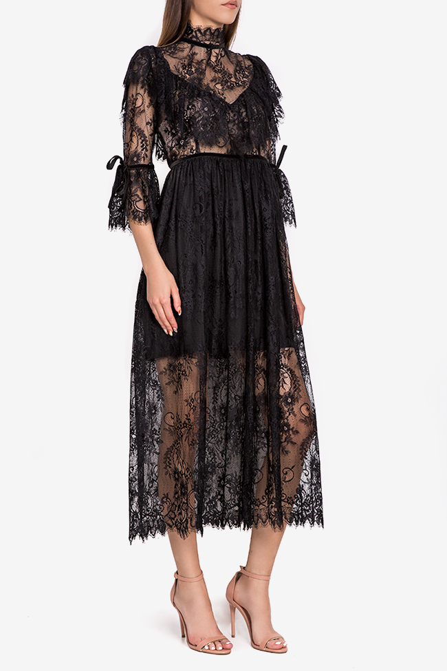 Meda ruffled lace midi dress Arllabel Golden Brand image 0