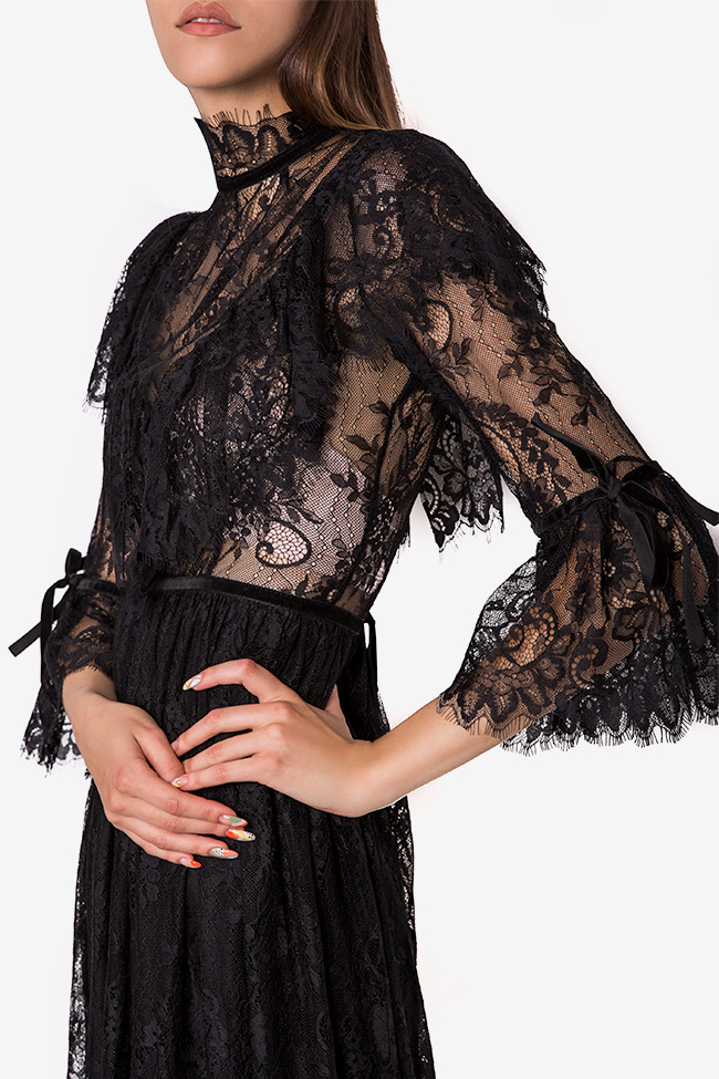 Meda ruffled lace midi dress Arllabel Golden Brand image 3