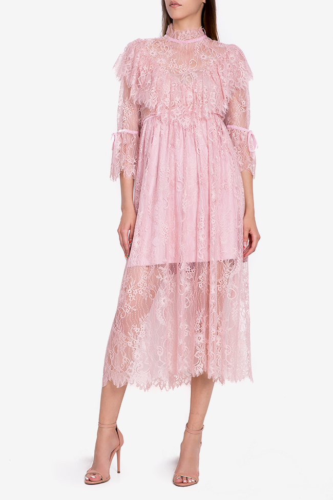 Meda ruffled lace midi dress Arllabel Golden Brand image 0