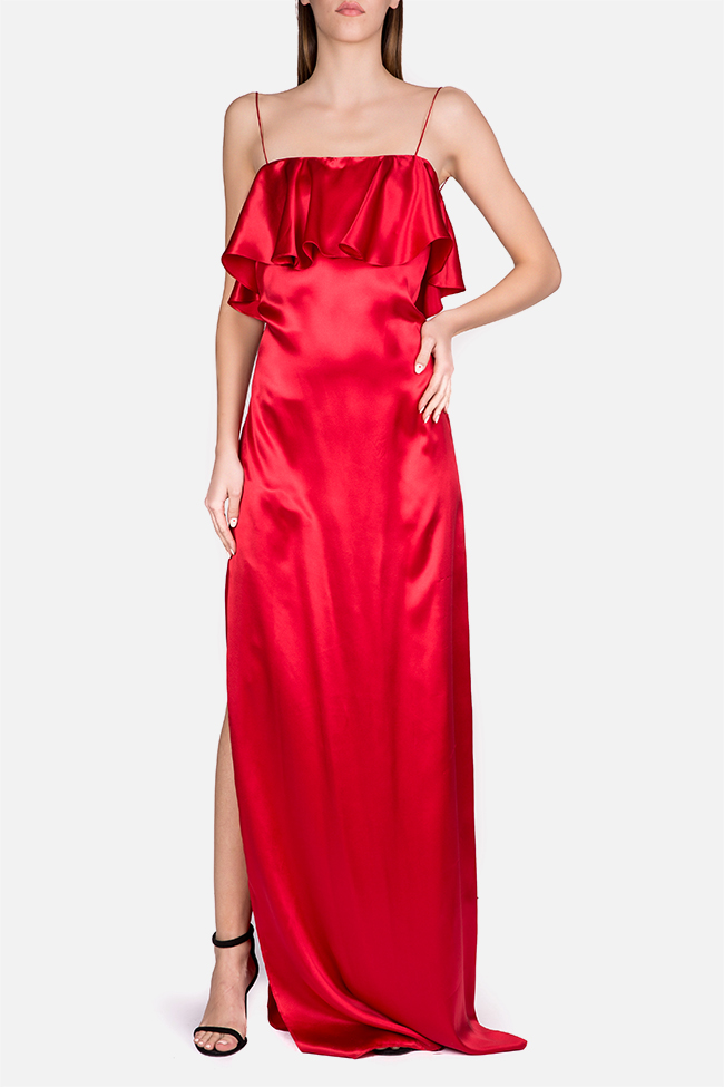 Ruffled silk-satin maxi dress Cloche image 0
