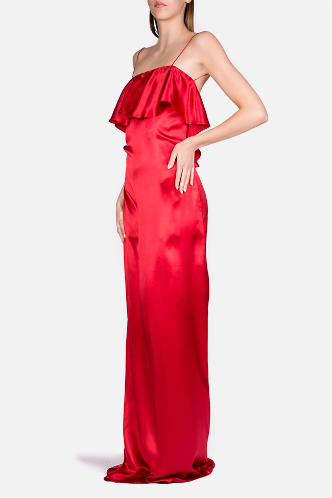 Ruffled silk-satin maxi dress Cloche image 1