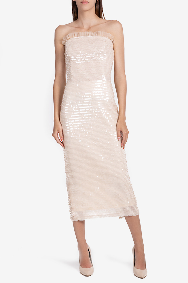 Giulia strapless sequined tulle midi dress Ramona Belciu image 1
