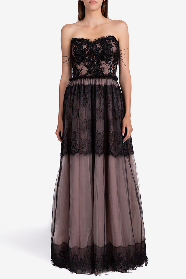 Aghatha feather-trimmed tulle and lace gown Ramona Belciu image 0