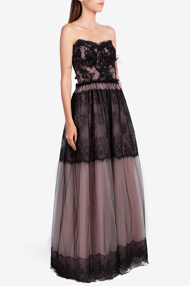 Aghatha feather-trimmed tulle and lace gown Ramona Belciu image 1
