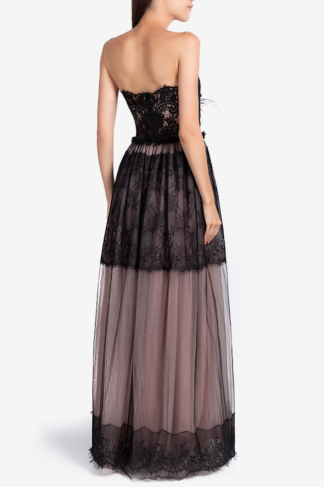 Aghatha feather-trimmed tulle and lace gown Ramona Belciu image 2