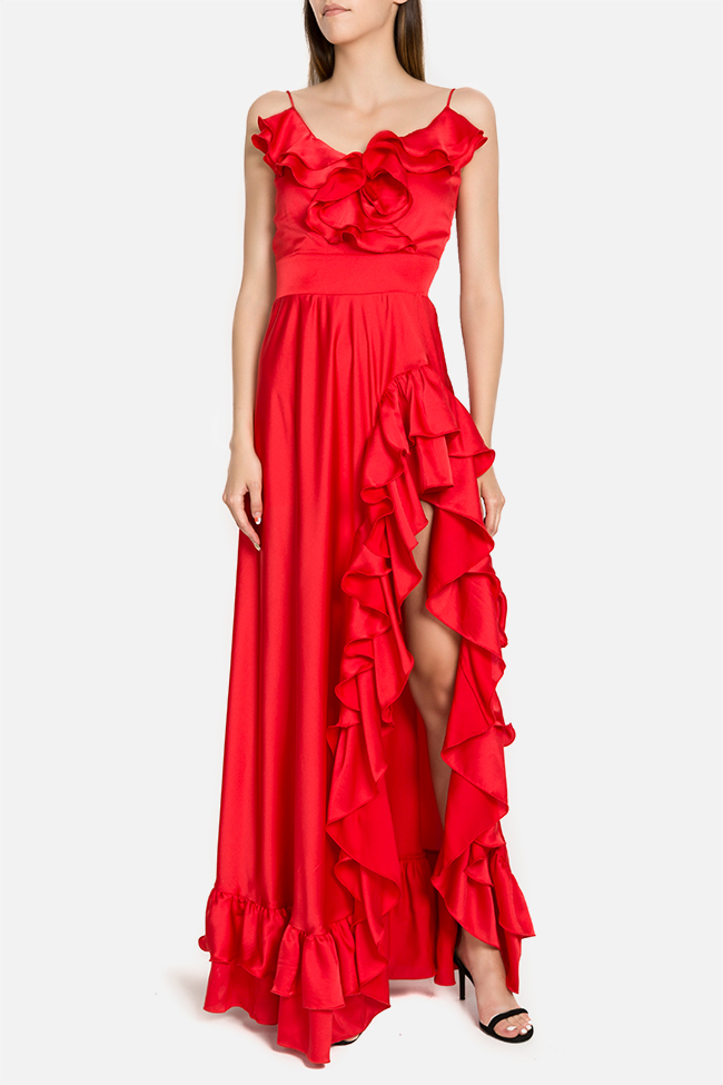 Selene silk-blend ruffled maxi dress Arllabel Golden Brand image 0