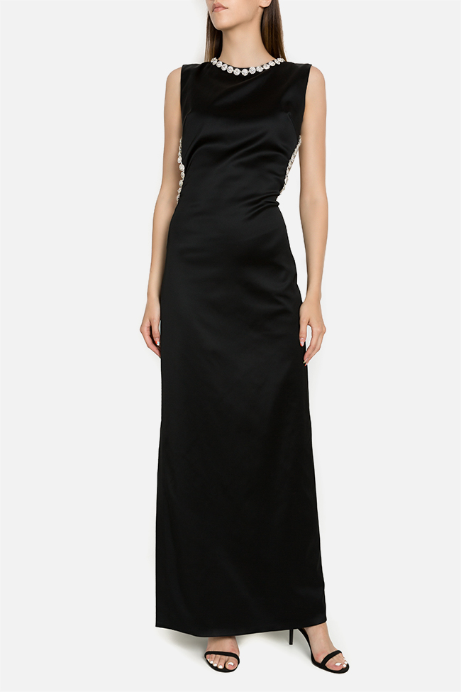 Noir crystal embellished silk-satin maxi dress  Arllabel Golden Brand image 1