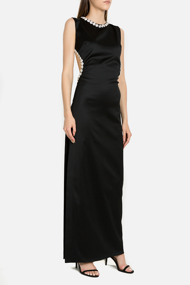 Noir crystal embellished silk-satin maxi dress  Arllabel Golden Brand image 0