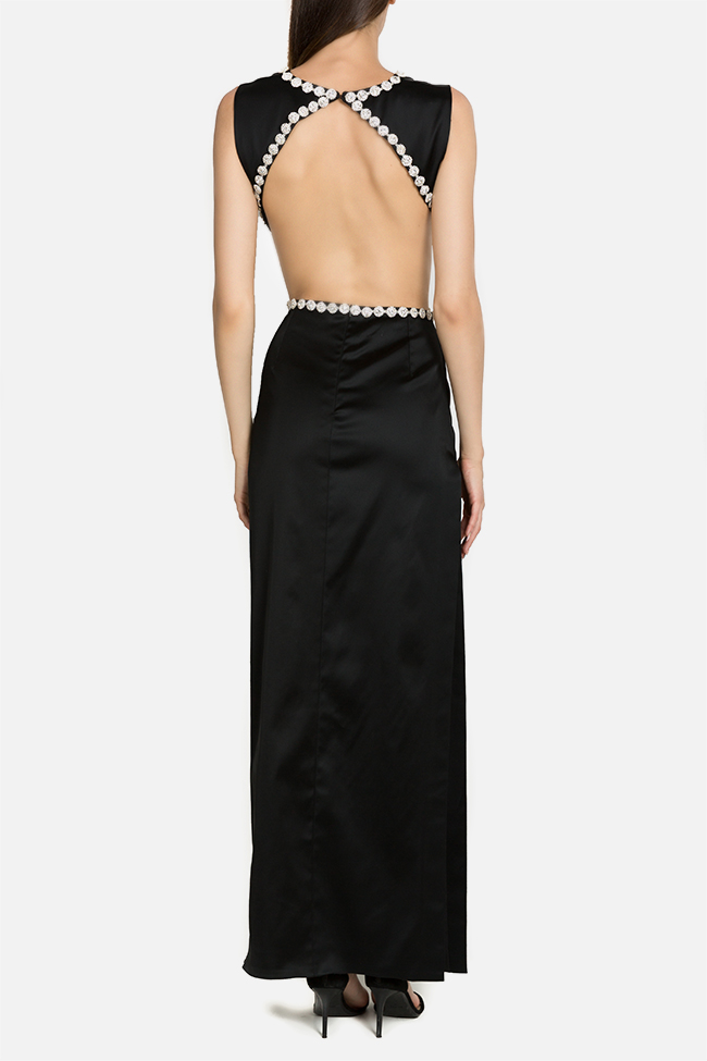 Noir crystal embellished silk-satin maxi dress  Arllabel Golden Brand image 2