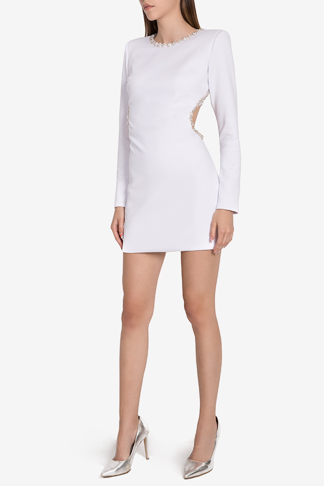 Blanc open-back embellished crepe mini dress  Arllabel Golden Brand image 1