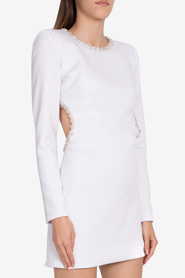 Blanc open-back embellished crepe mini dress  Arllabel Golden Brand image 0