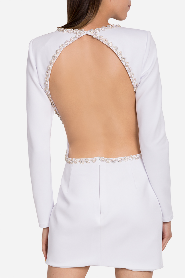 Rochie din crep cu spatele gol si aplicatii din cristale Blanc Arllabel Golden Brand imagine 2