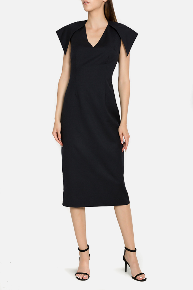 Susur asymmetric light wool midi dress DALB by Mihaela Dulgheru image 0