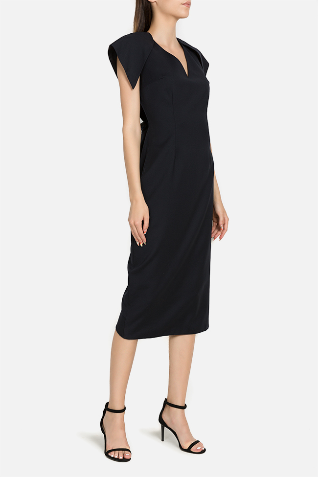 Susur asymmetric light wool midi dress DALB by Mihaela Dulgheru image 1