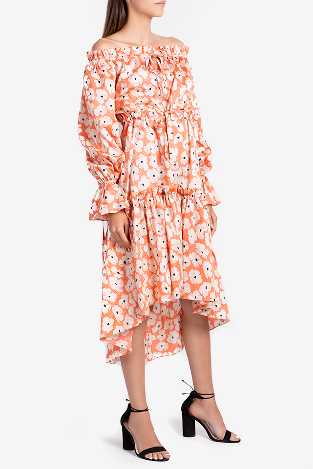 Printed cotton asymmetric midi dress Bluzat image 1