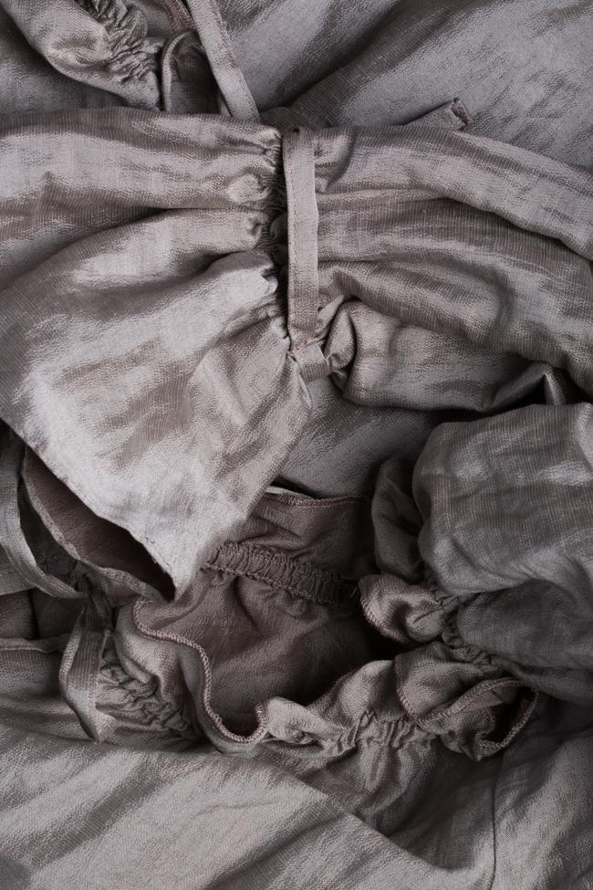 Rochie asimetrica din bumbac cu volane Bluzat imagine 4