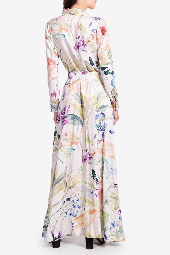 Rochie tip camasa din viscoza cu imprimeu floral Bluzat imagine 2