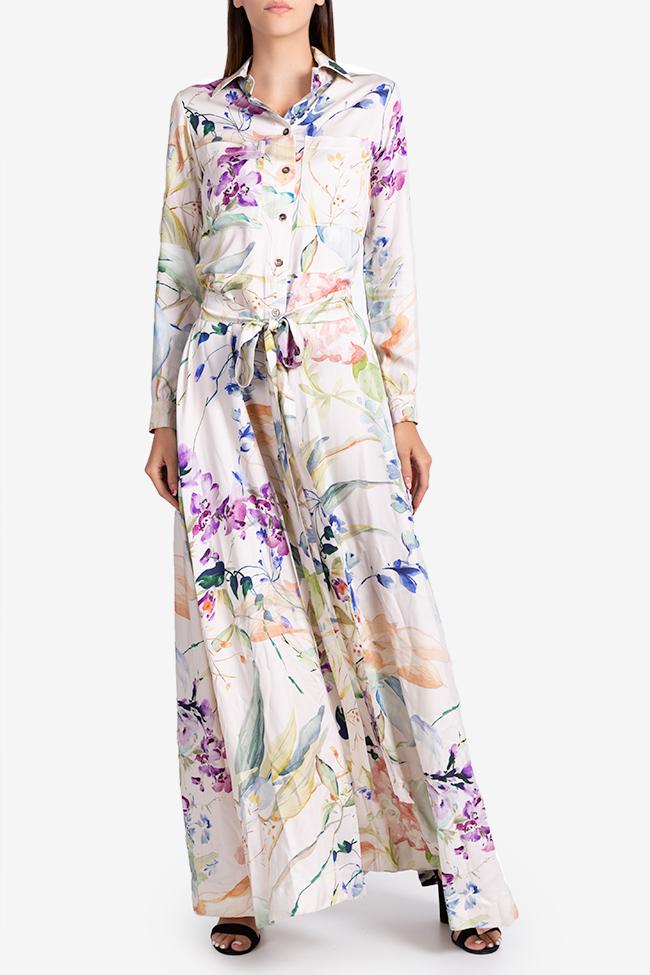 Rochie tip camasa din viscoza cu imprimeu floral Bluzat imagine 0