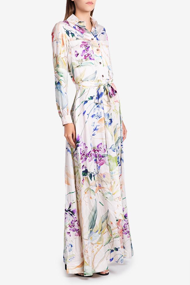 Rochie tip camasa din viscoza cu imprimeu floral Bluzat imagine 1