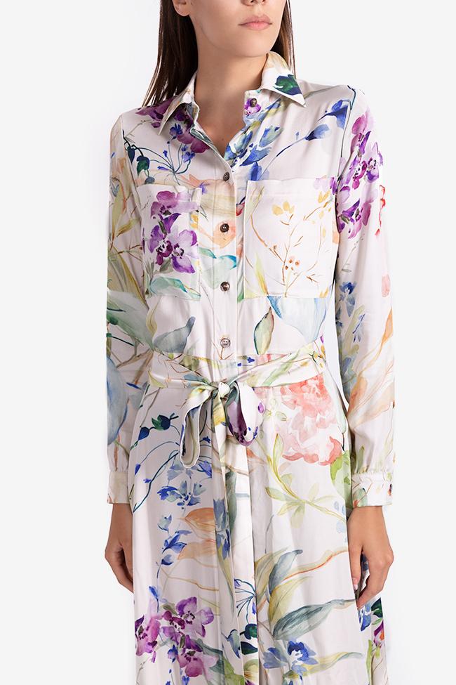 Rochie tip camasa din viscoza cu imprimeu floral Bluzat imagine 3