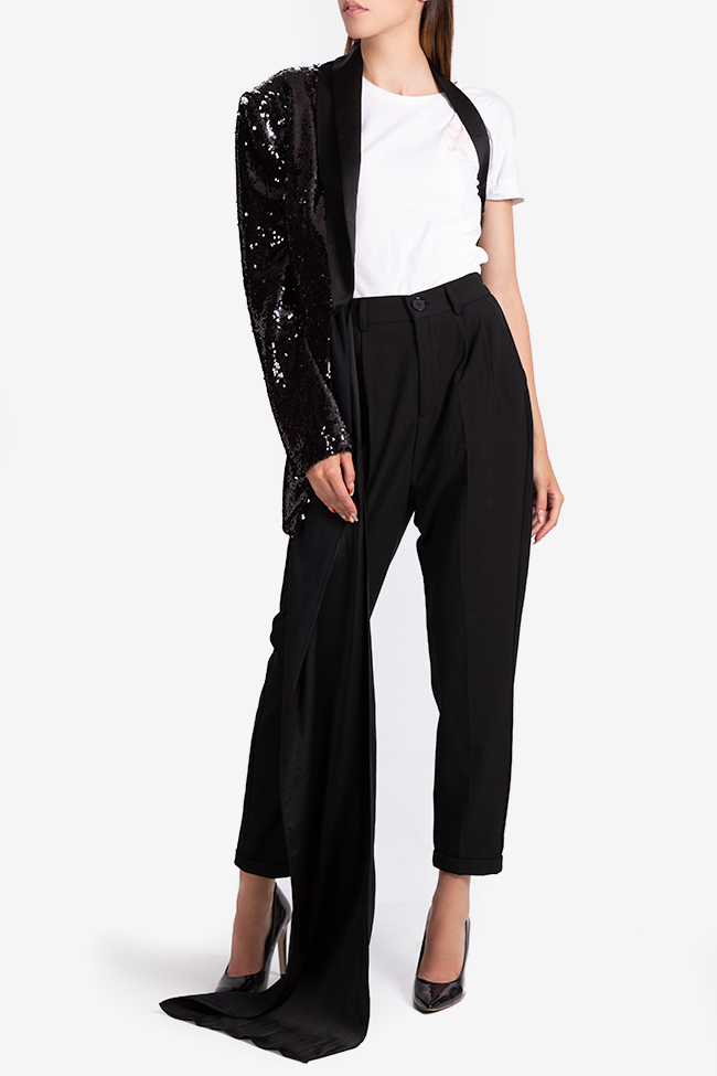 One-shoulder satin-trimmed sequin blazer NARRO image 0