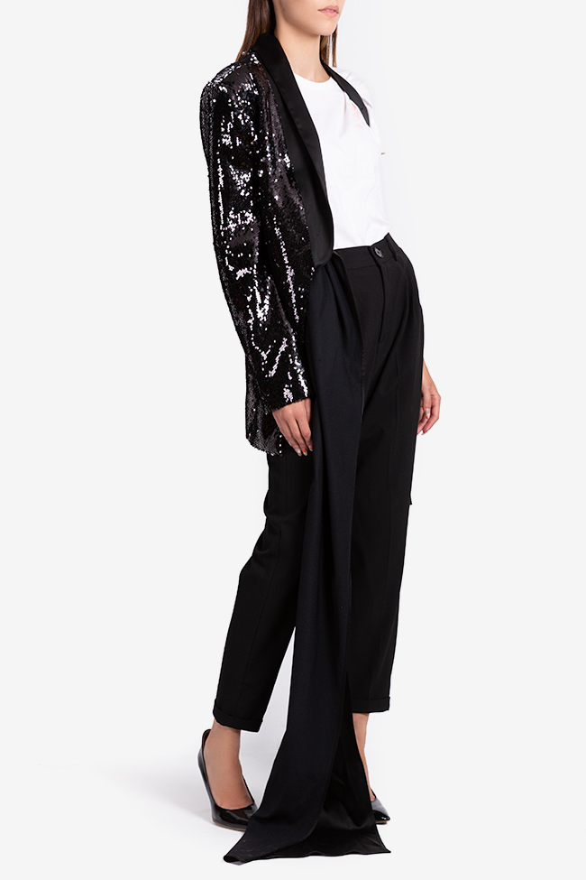 One-shoulder satin-trimmed sequin blazer NARRO image 1