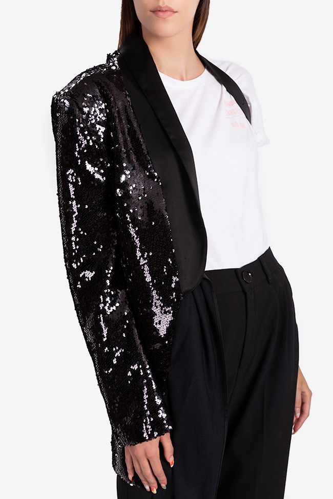 One-shoulder satin-trimmed sequin blazer NARRO image 3