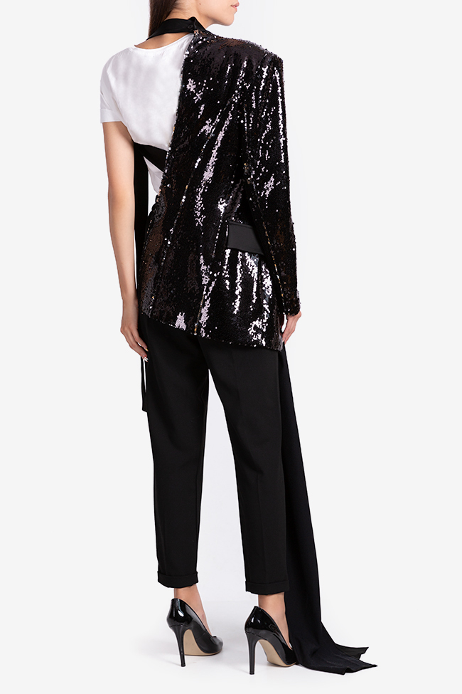 One-shoulder satin-trimmed sequin blazer NARRO image 2