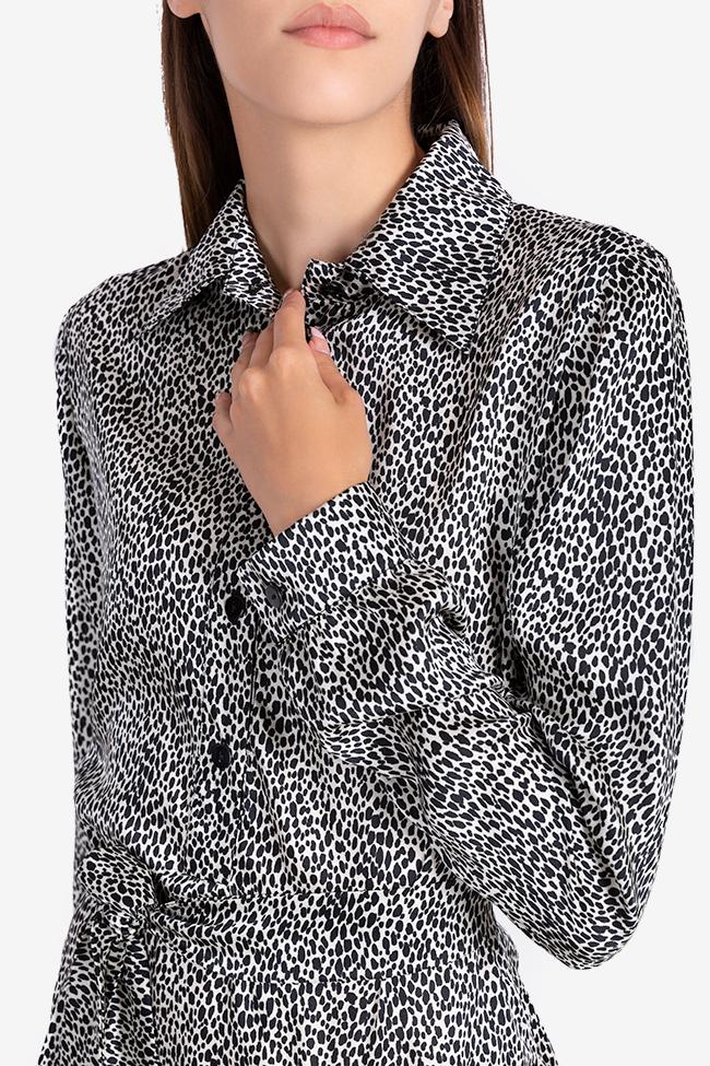 Rochie asimetrica din viscoza cu imprimeu tip sarpe Bluzat imagine 3