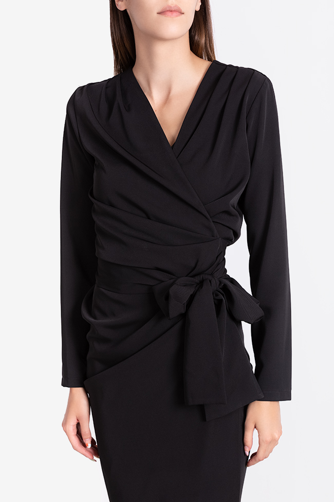 Draped crepe wrap dress Bluzat Cocktail image 3