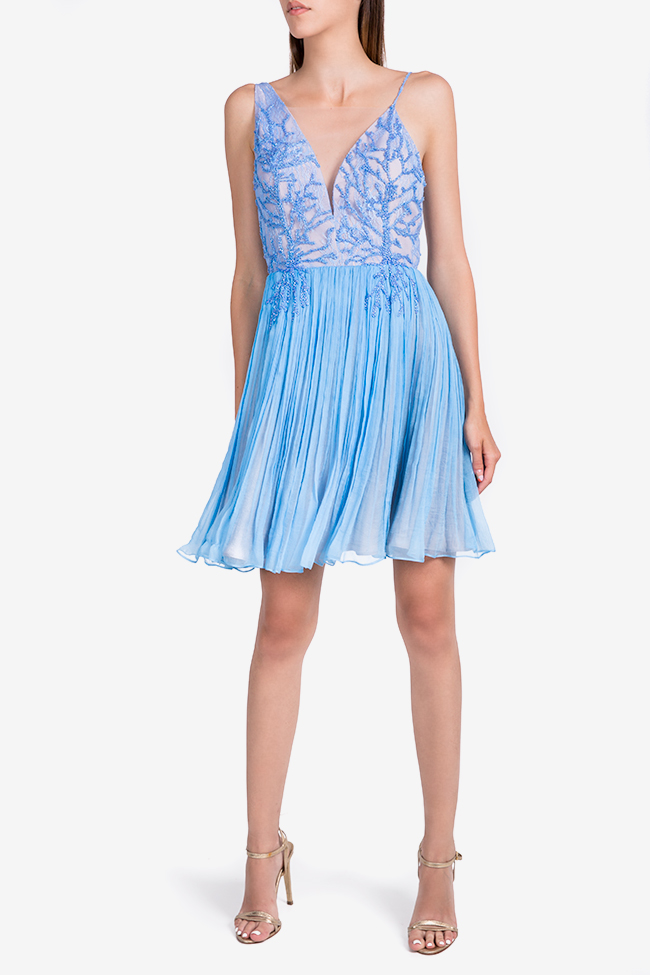 Coral Blue embellished silk-mousseline mini dress Nicole Enea image 1