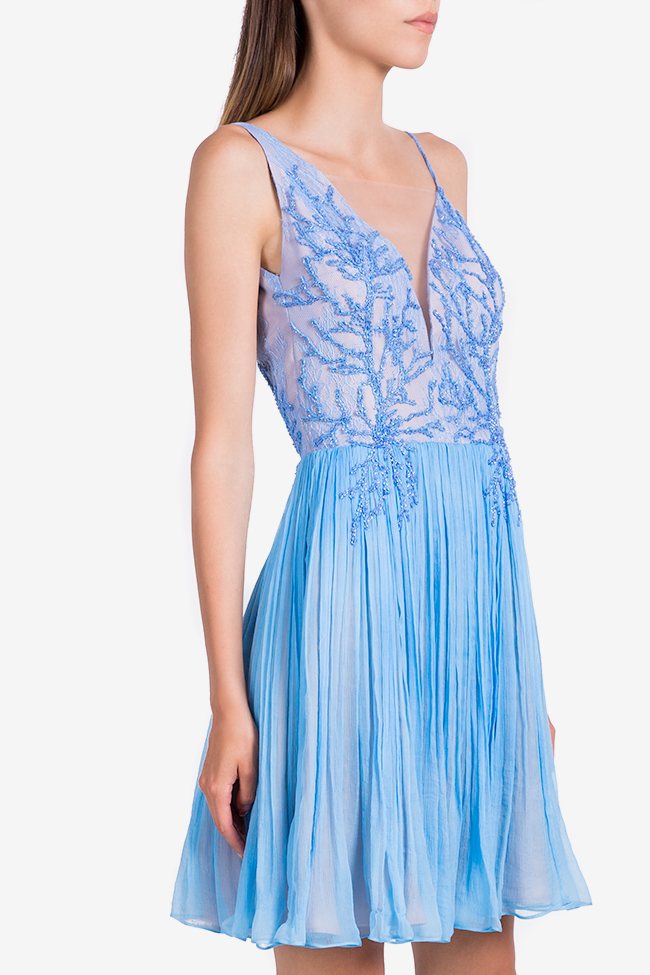 Coral Blue embellished silk-mousseline mini dress Nicole Enea image 0