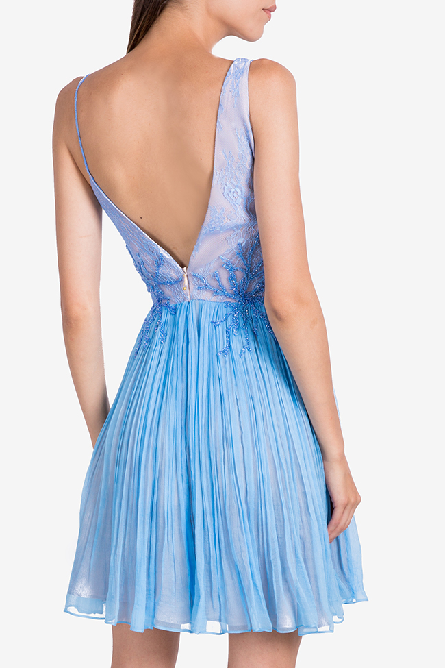 Coral Blue embellished silk-mousseline mini dress Nicole Enea image 2