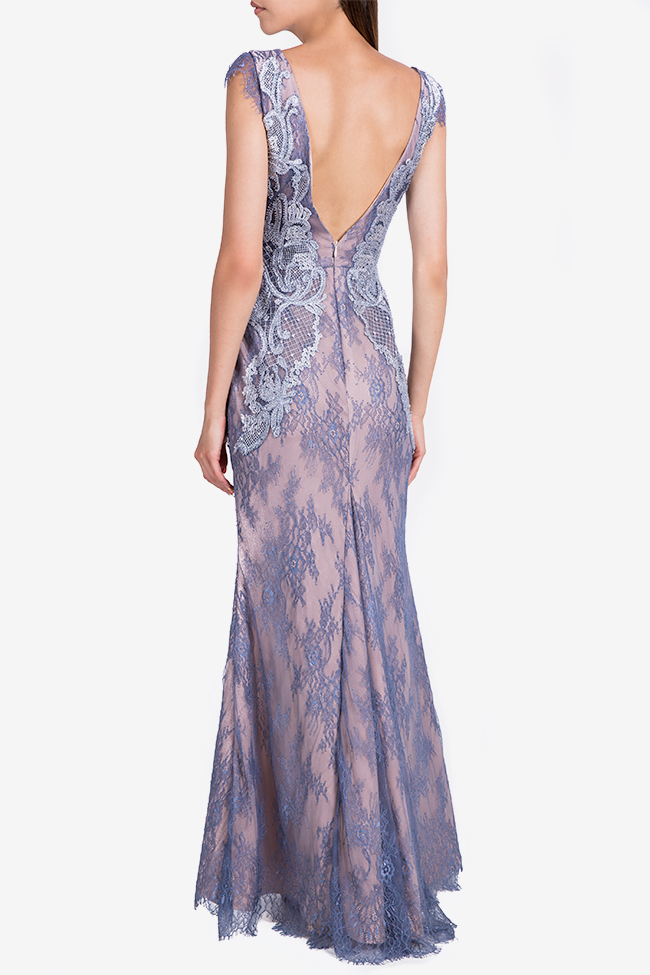Embroidered open-back Chantilly lace gown Nicole Enea image 2