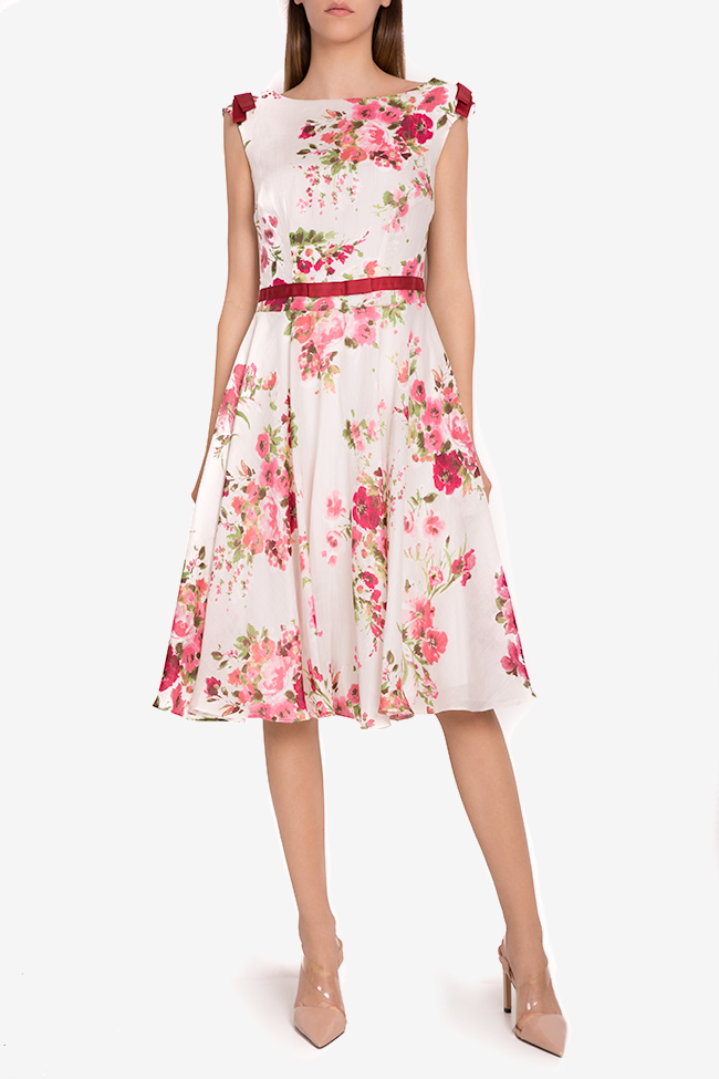 Floral print silk-blend midi dress Oana Manolescu image 1