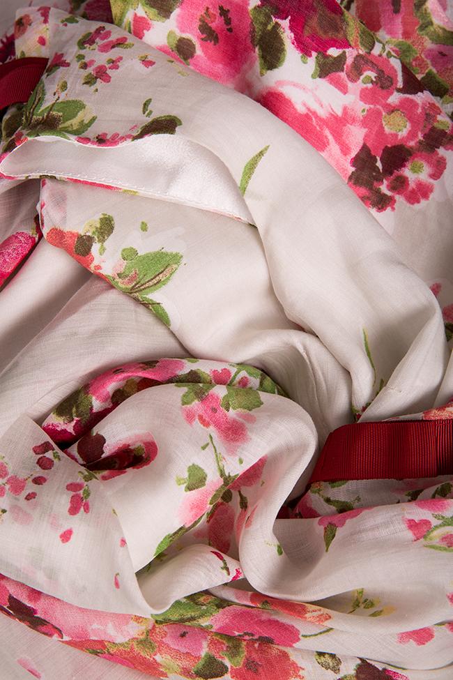 Rochie din batist de bumbac si matase cu imprimeu floral Oana Manolescu imagine 4