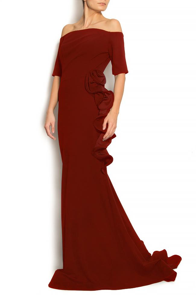 'Volume of Spirit' off-the-shoulder ruffled crepe gown Bien Savvy image 1