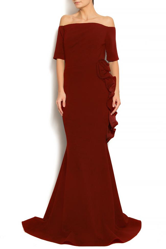 'Volume of Spirit' off-the-shoulder ruffled crepe gown Bien Savvy image 0