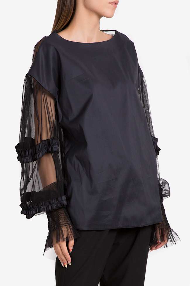 Oversized asymmetric viscose tulle top NARRO image 0