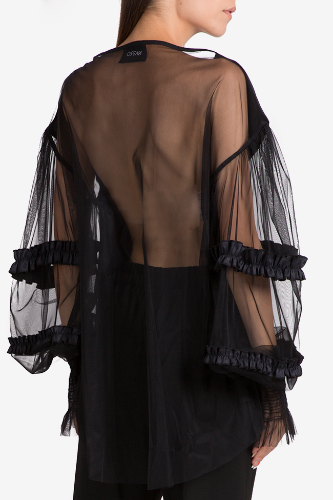 Oversized asymmetric viscose tulle top NARRO image 2