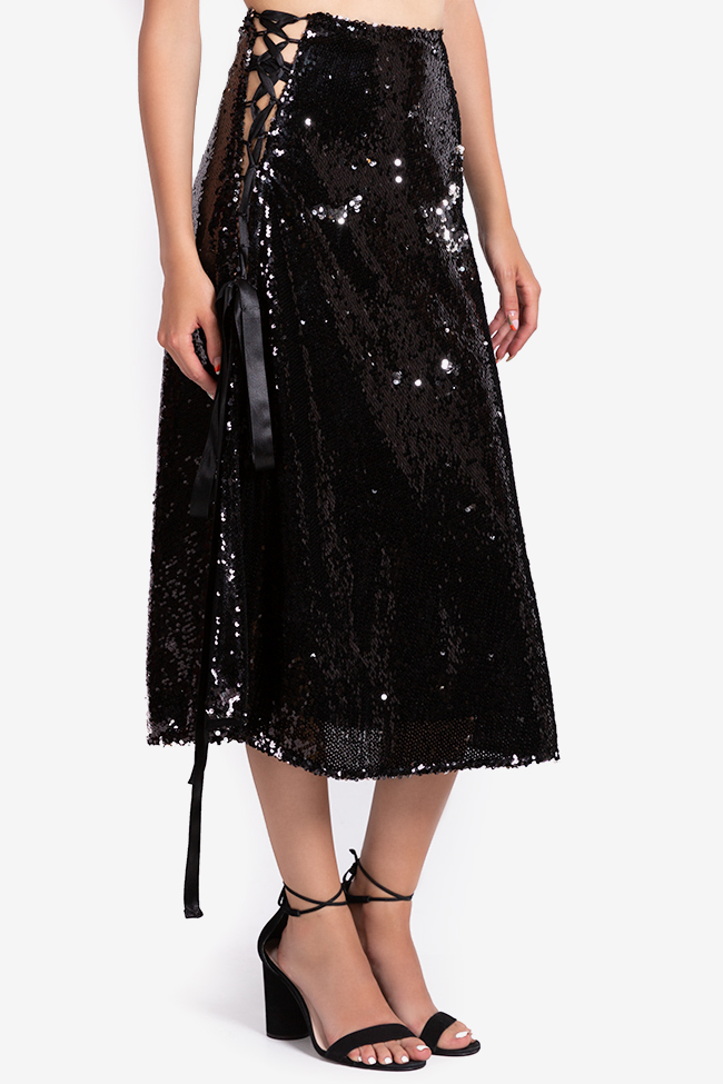 Asymmetric sequined midi skirt NARRO image 0