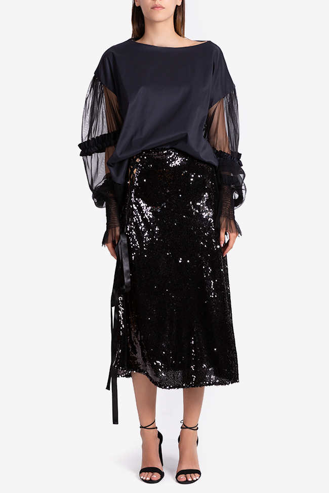 Asymmetric sequined midi skirt NARRO image 1