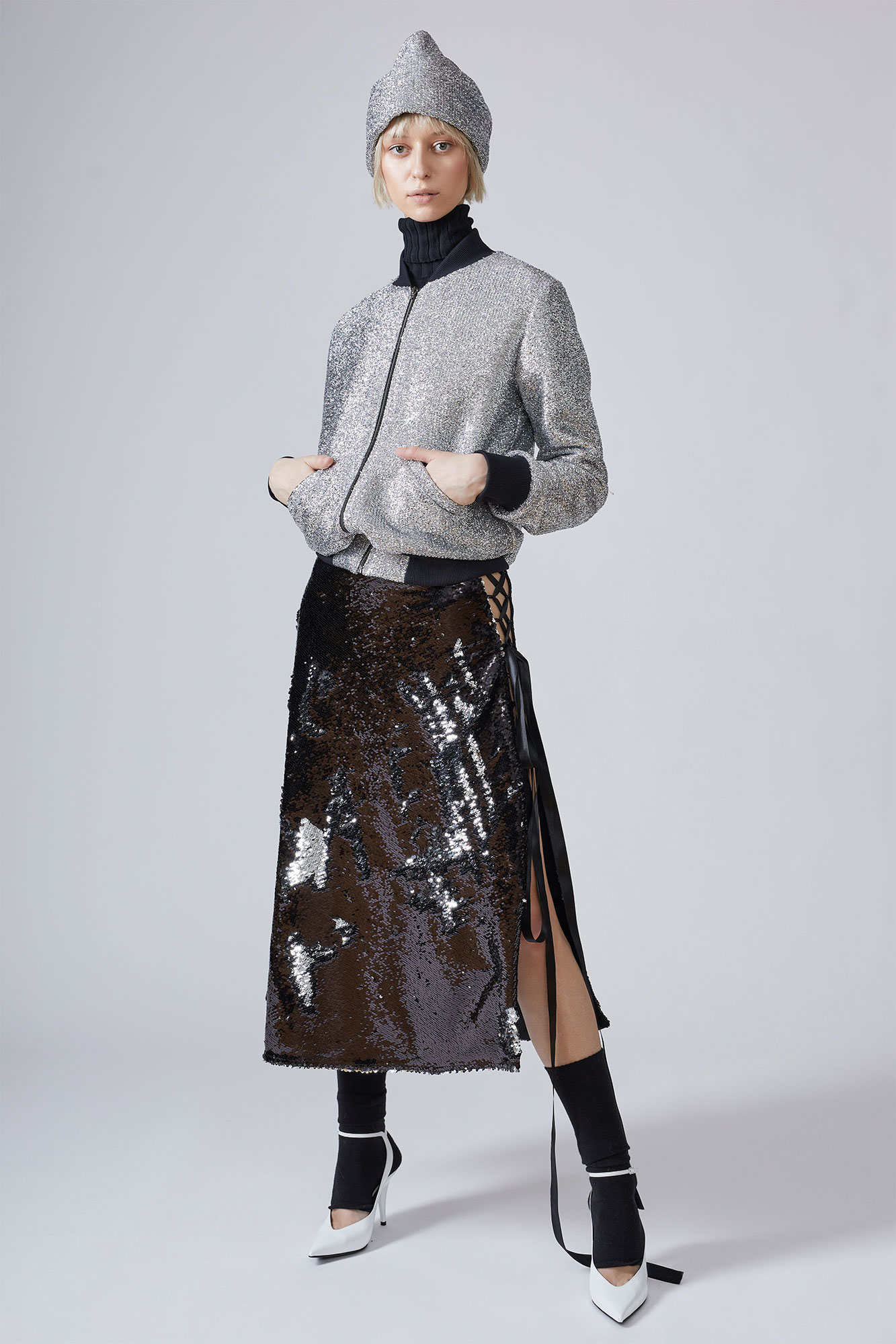 Asymmetric sequined midi skirt NARRO image 3
