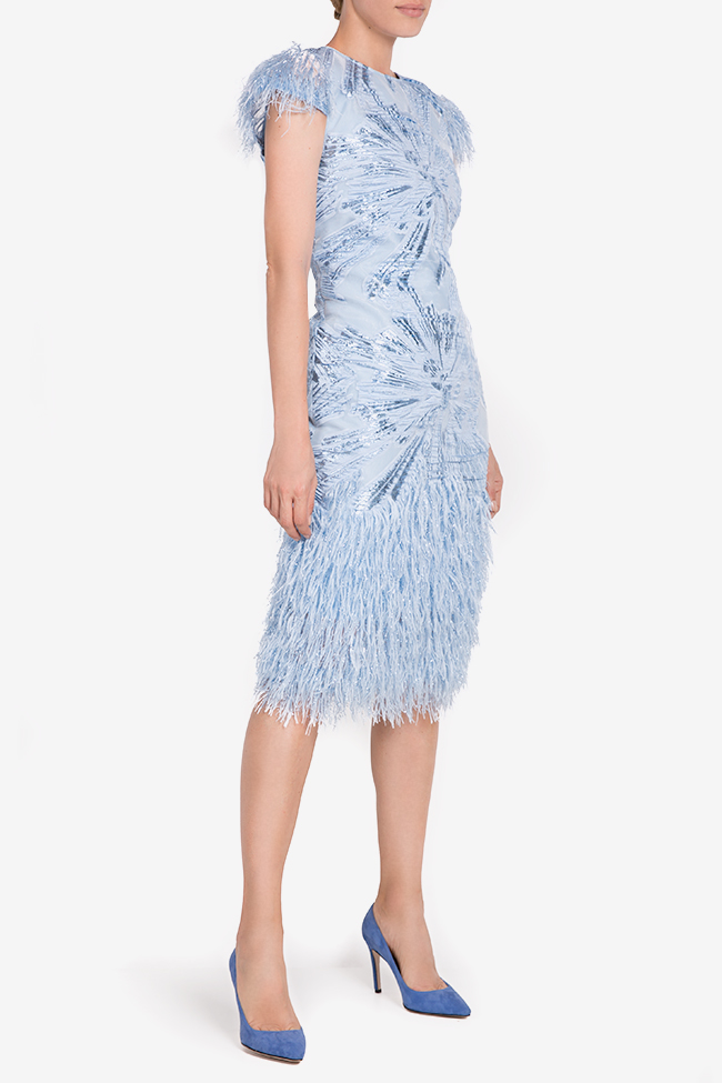 Carmen fringed silk-blend organza midi dress Ramona Belciu image 0